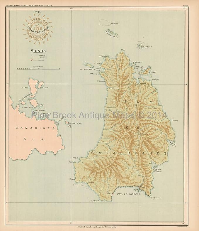 Catanduanes Philippine Islands Antique Map Algue 1899 Unique