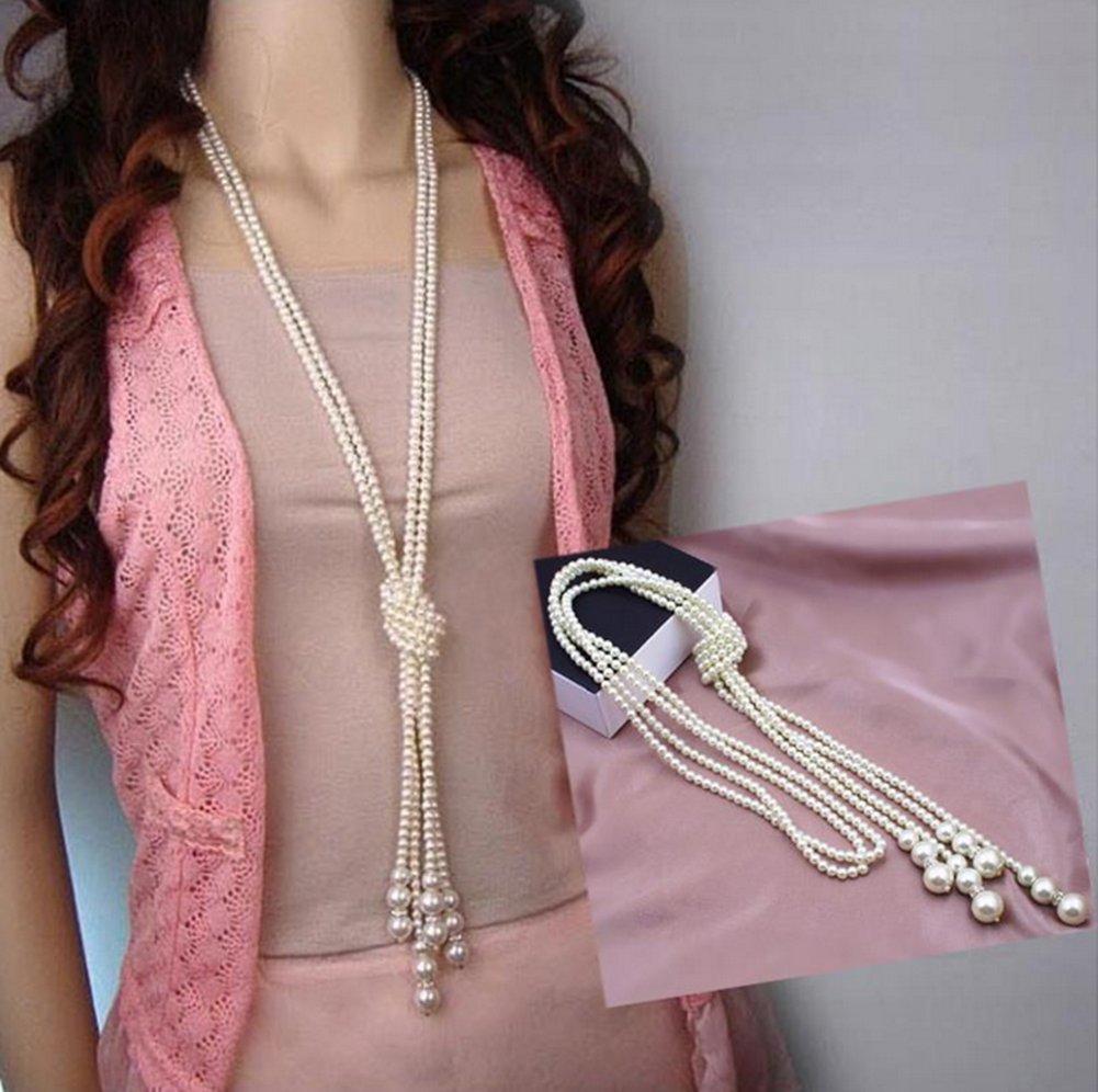 YAZILIND Rhinestone Tulip Flower Pendant Necklace Women Long Sweater Chain
