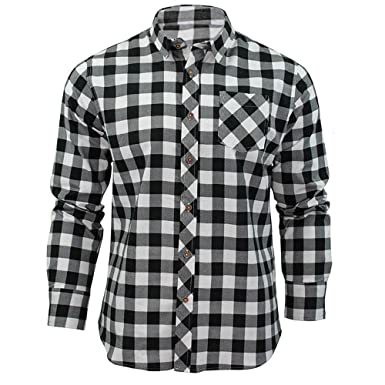 5c60be10daf Juleya Men s 5 Colors Plaid Flannel Shirt Casual Long Sleeve Plaid Shirts  Button Down with Front