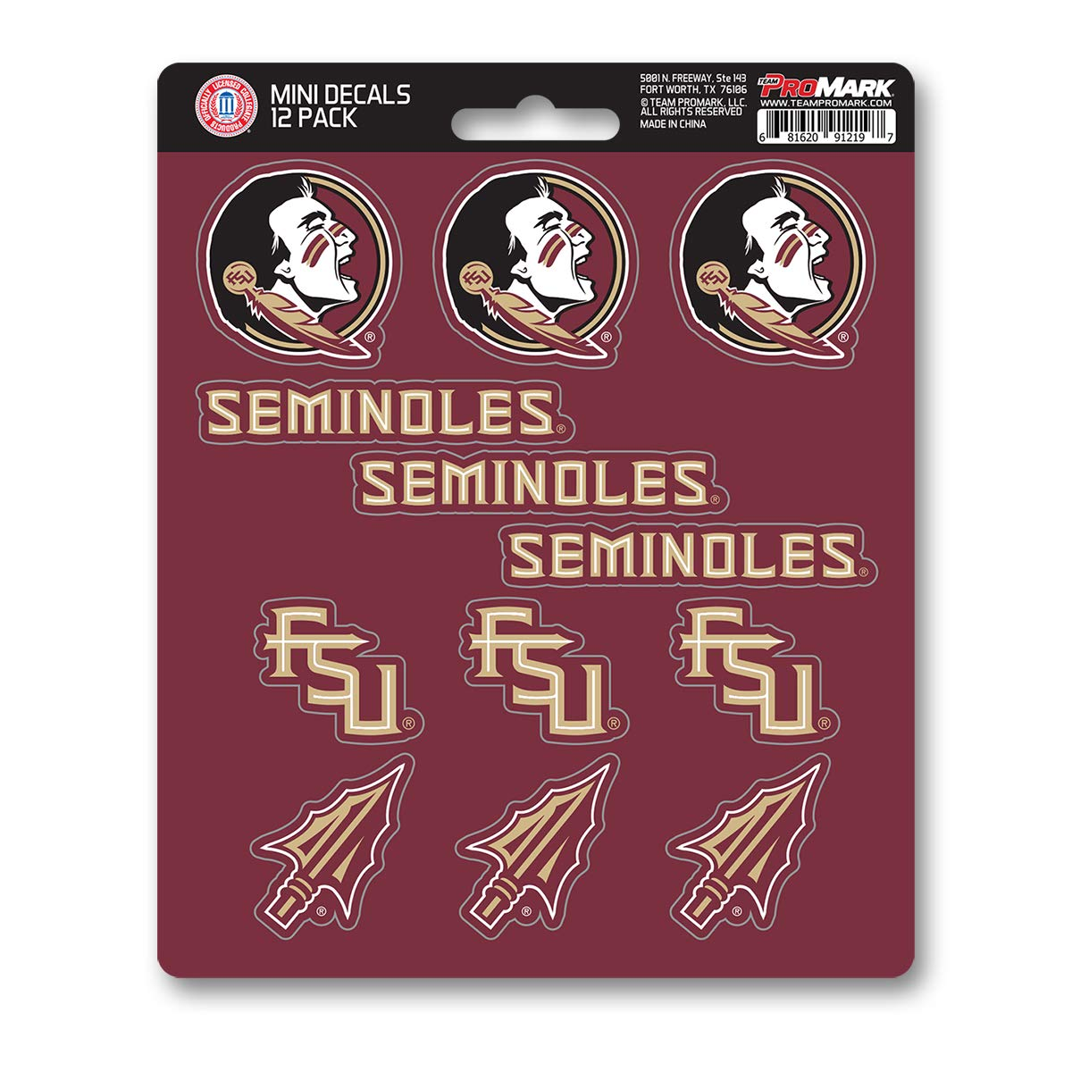 One Size Team Color ProMark NCAA Florida State Seminoles Decal Set Mini 12 Pack