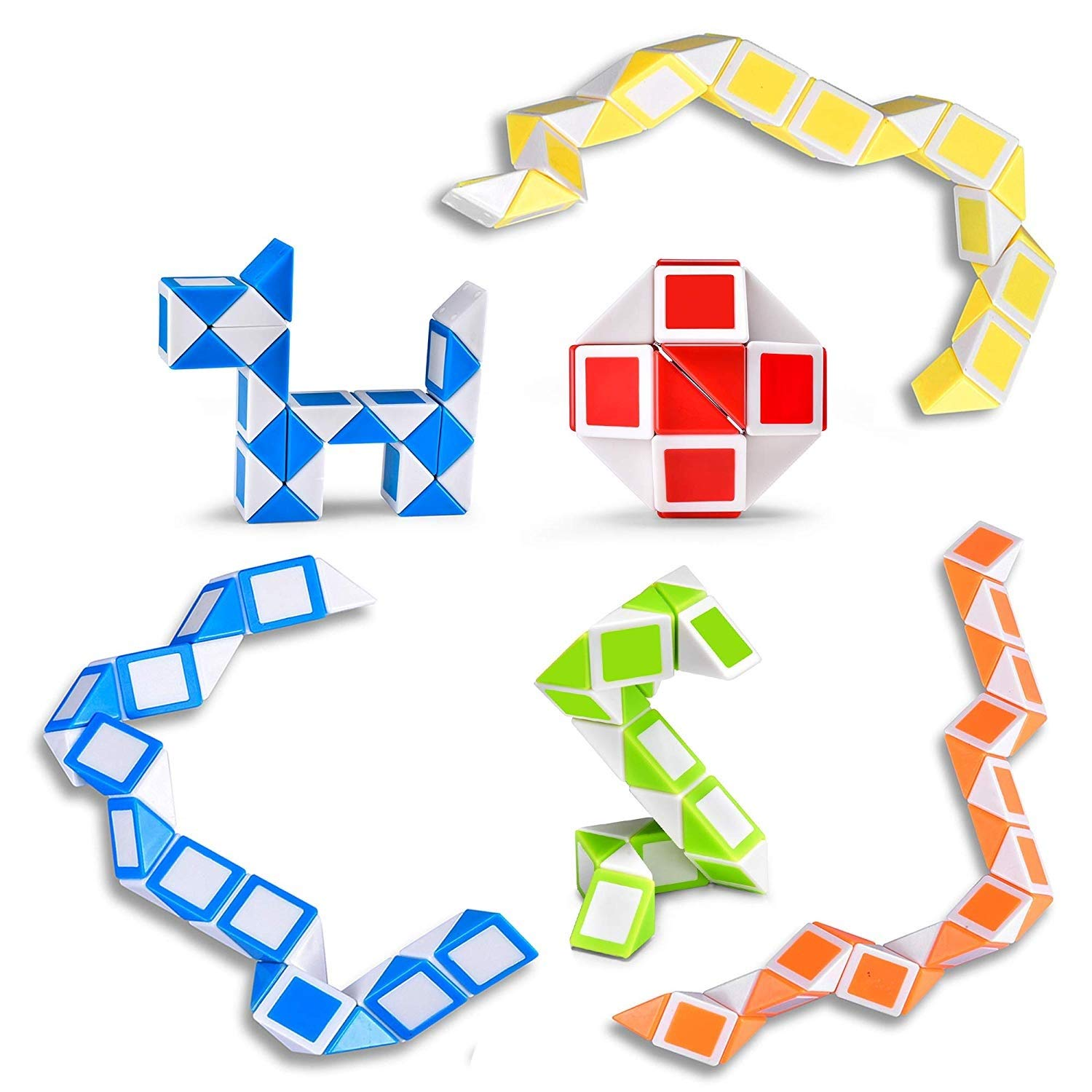 ecb443427c902 Ganowo Magic Snake Cube Mini 6 Pack-24 Blocks Twist Puzzle Collection Brain  Teaser Toy Snake Ruler Fidget Toys Sets for Kids Party Bag Fillers Game ...