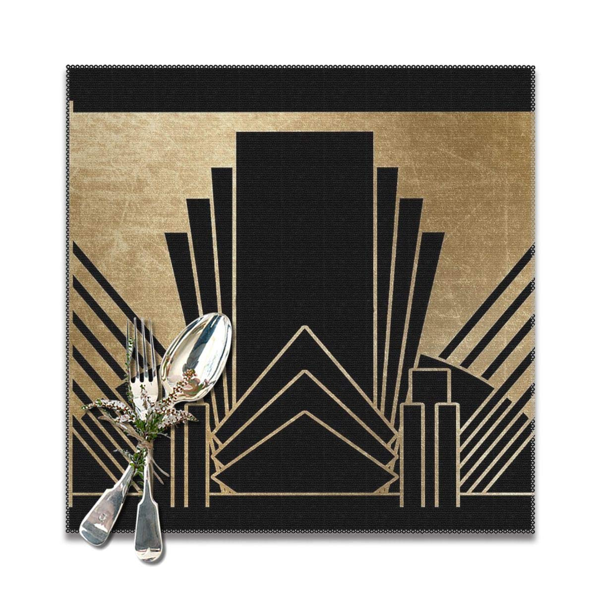 Lilyo Ltd Art Deco Design Placemats For Dining Table Washable Placemat Set Of 6 12x12 Inch Buy Online In Faroe Islands At Faroe Desertcart Com Productid 132097988