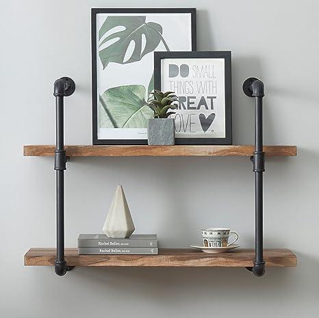 O&K Furniture Estante de pared para estantes, 2 estantes, estilo vintage, color marrón
