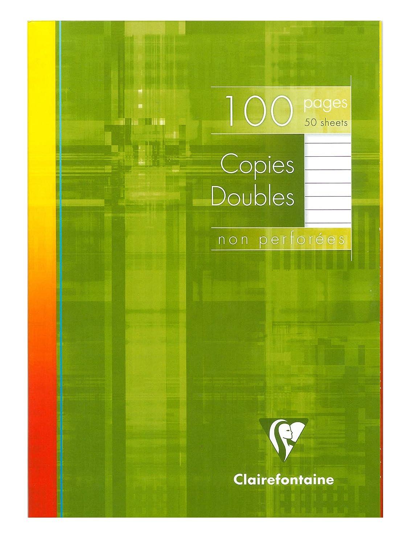 mit 100 Kanzleib/ögen, nicht perforiert, kariert mit Rand, ideal f/ür die Schule Clairefontaine 57222C Packung wei/ß