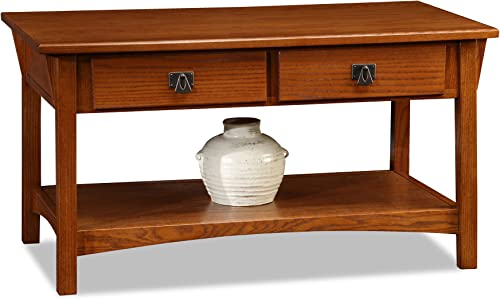 Mission Two Drawer Coffee Table – Russet Finish