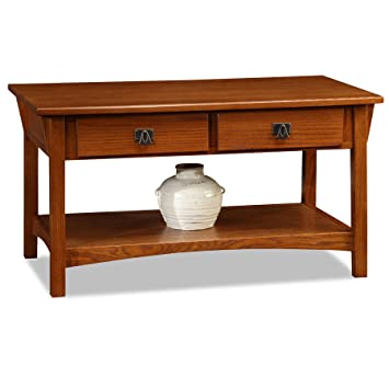 Captivating Mission Two Drawer Coffee Table   Russet Finish