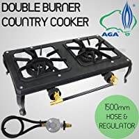 Ignite Double Burner Country Cooker Cast Iron LPG Camping Gas Stove 1.5m Hose