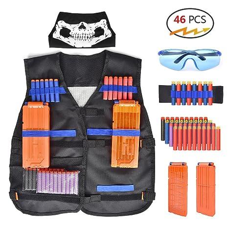 Tactical Vest Kit,Kids Elite Camouflage Tactical Vest with 20 Pcs Soft Foam  Darts for