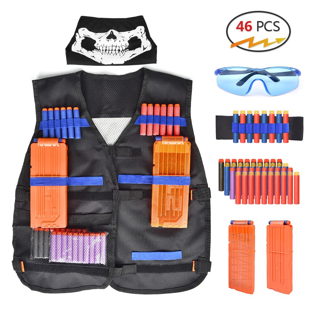 Walsilk Children Kids Tactical Vest Kit for Nerf Guns N-Strike Elite Series,Adjustable Elite Tactical Vest Jacket Kit,Perfect Gift for Kid Toy Play or Other Outdoor Activities by Walsilk