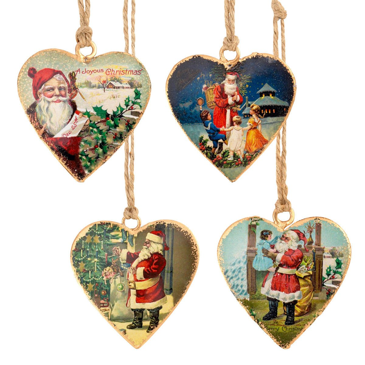 Set of 4 Vintage Victorian Father Christmas Santa Tree Decorations Metal Hearts Homes On Trend