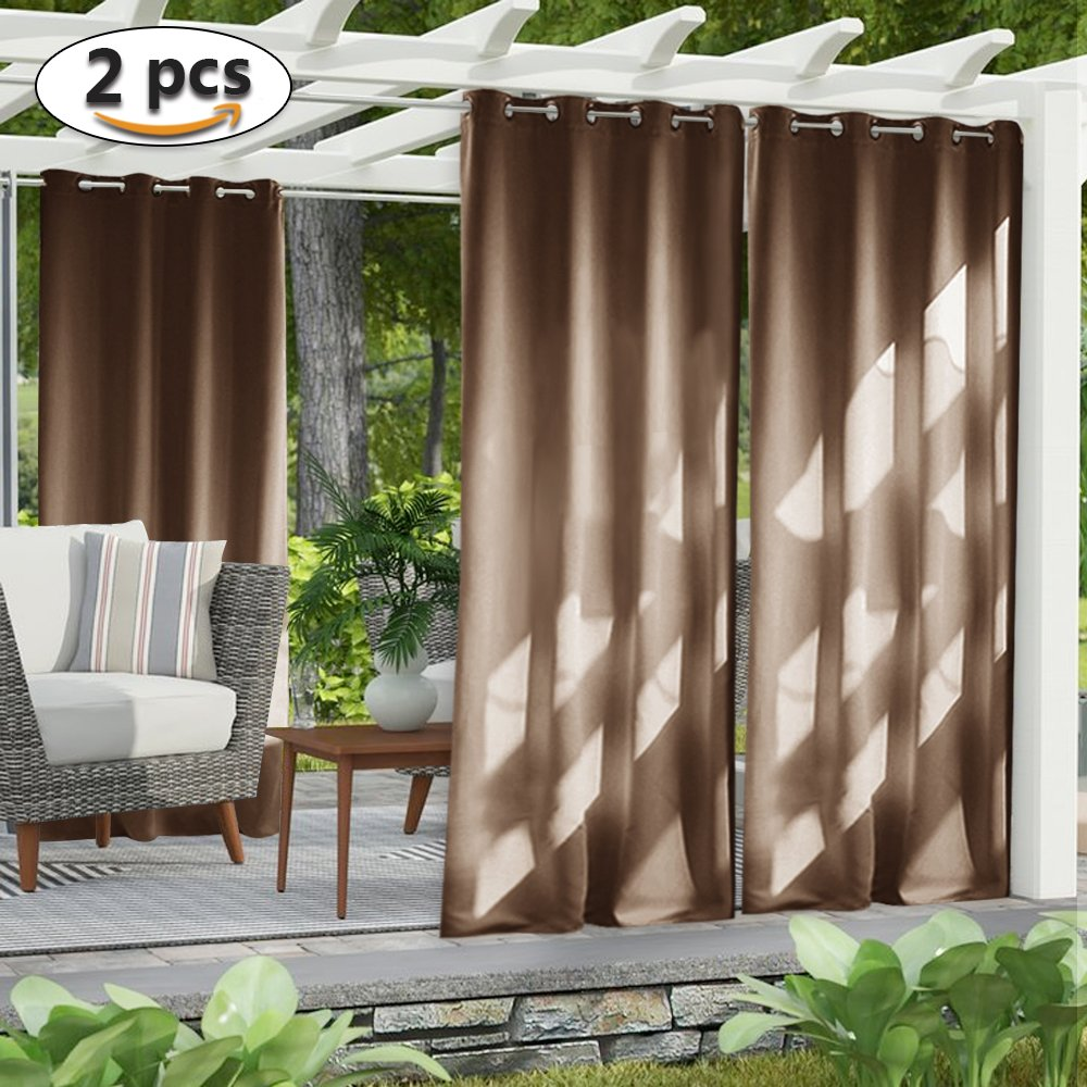 NICETOWN Outdoor Curtain Panel for Patio - Home Decorations Thermal Insulated Grommet Top Blackout Indoor Outdoor Curtains/Drapes for Outside Pavilion/Lounge (Tan, Double Panels, 52 x 95-Inch)