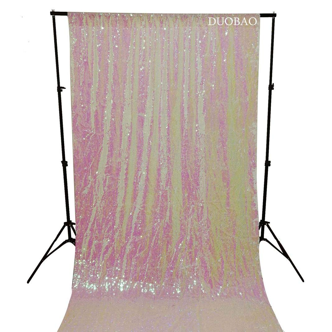 DUOBAO Sequin Backdrop 8Ft Mermaid Sequin Curtains Change White to White Reversible Shimmer Backdrop 6FTx8FT Sparkle Photo Backdrop by DUOBAO (Image #2)
