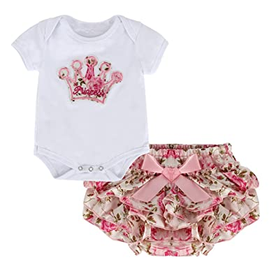 ed759bf92541 Puseky Newborn Baby Girls Princess Crown Rompers+Divided Skirt ...