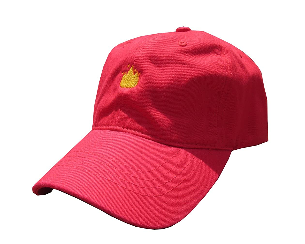 7b1bc0c3e68 Lit Fire Emoji Meme Red Unstructured Twill Cotton Low Profile Yeezus Dad  Hat Cap at Amazon Men s Clothing store