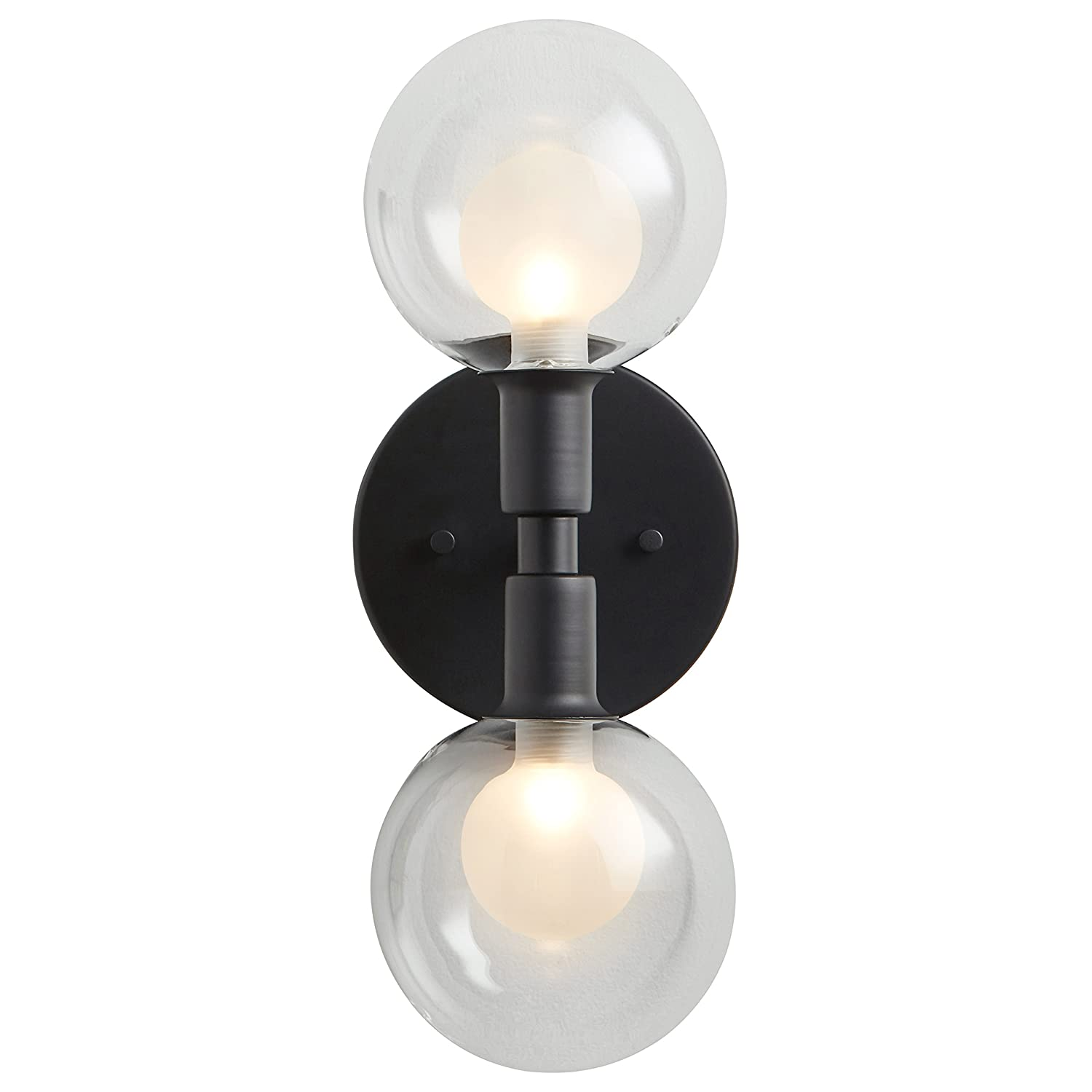 13.5H Rivet Mid-Century Modern Wall Sconce With Bulb Gold with Glass Globe