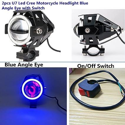 amazon com: iov light 2pcs 125 u7 cree led motorcycle headlight 12v 3000lm  u7 led drl car front light spot lamp with blue angle eyes led signal light  free