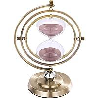 SuLiao - Reloj de arena de 15 minutos con temporizador de arena giratorio vintage, cristal de latón grande, con arena…