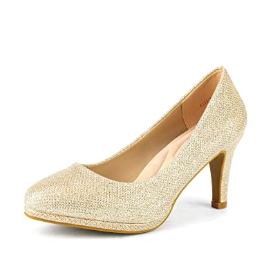 d3fc264d78f DREAM PAIRS Women s City CT Gold GLIT New Classic Elegant Low Kitten Heel  Party Dress Pumps Shoes