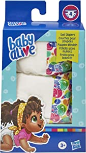 Baby Alive Doll Diaper Refill, Includes 4 Diapers, Toys Accessories, for Kids Ages 3 Years Old and Up