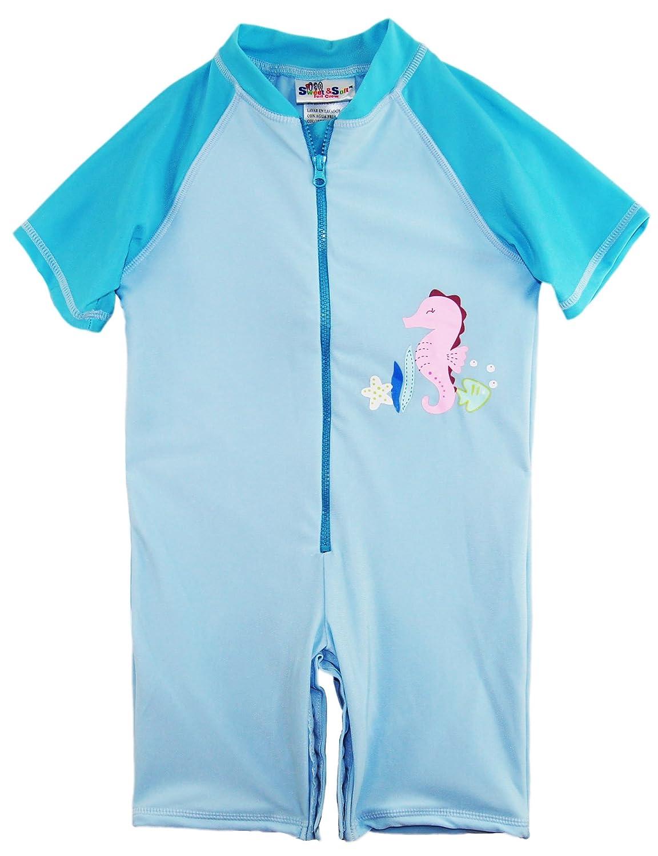 Sweet & Soft Little Girls Animal Print 1-Piece Swim Short Sleeve Rashguard