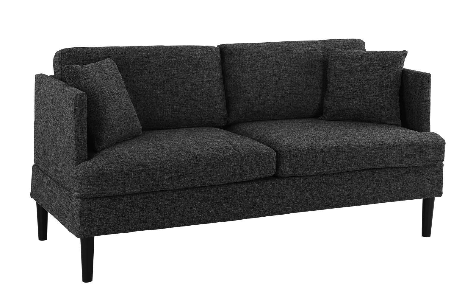 Modern Upholstered Loveseat Sofa/Couch (Ash Grey) - Mid Century style modern living room loveseat couch with decorative pillows and wooden legs. Square frame with club-style armrests. Upholstered in woven marbled soft linen fabric with 2 additional pillows in the same fabric. The perfect size sofa for a studio apartment and or a guest room. Comfortable cushions filled with high density foam. - sofas-couches, living-room-furniture, living-room - 71M68AZaKGL -