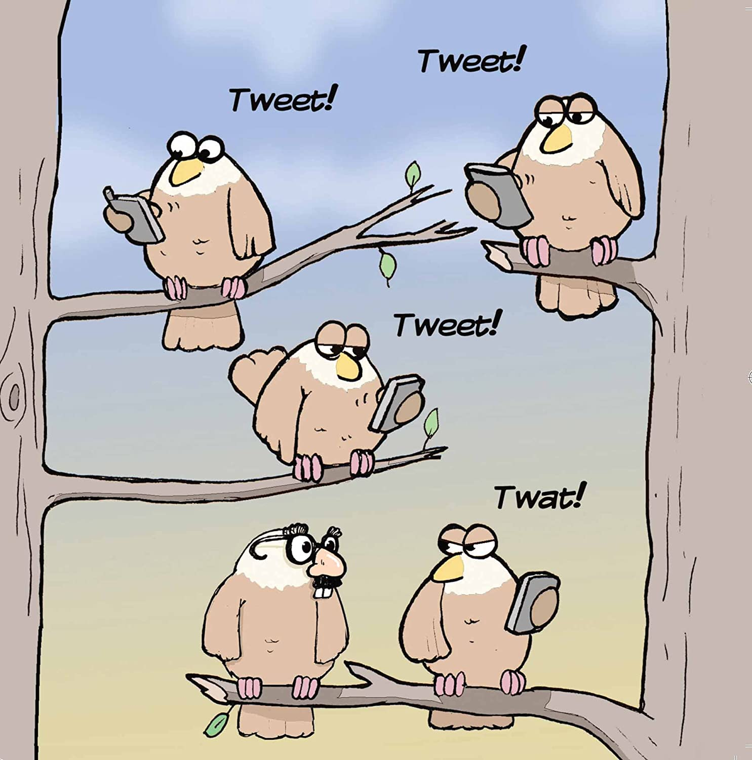 Twizler Funny Card with Mobile Phone, Birds and Twitter Reference - Blank Card - Happy Birthday Card – Humour Card – Anniversary Card – Teenager Card – Good Luck Card – Congratulations Card – Goodbye Card – Thank You Card - Fathers Day Card – Mothers Day
