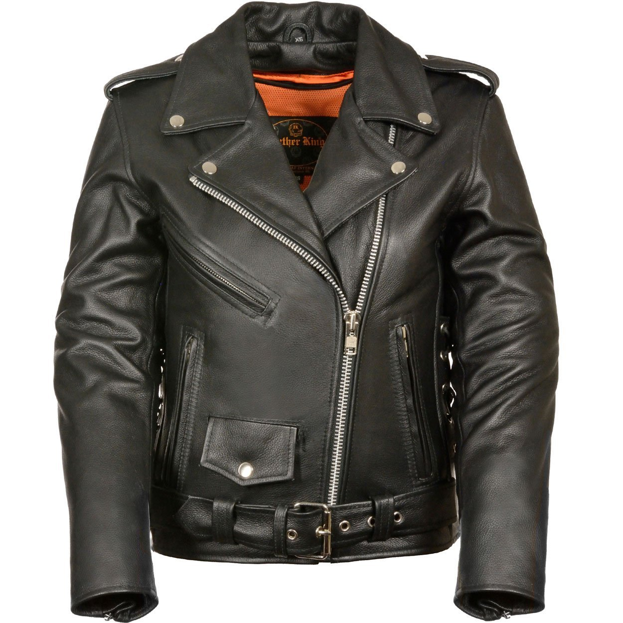 LC2700P Plus Size Ladies Black Basic Classic Motorcycle Premium Leather Jacket with side laces