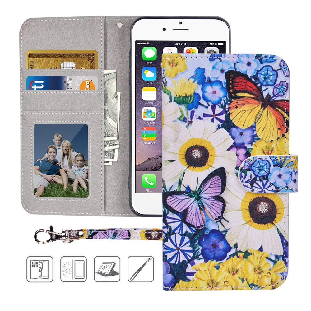 Urbeutyke iPhone 8 Plus Wallet Case,iPhone 7 Plus Wallet Case, Premium PU Leather Flip Folio Case Cover with Wrist Strap,Card Slots,Kickstand for iPhone 8 Plus/7 Plus-Butterfly over Flowers