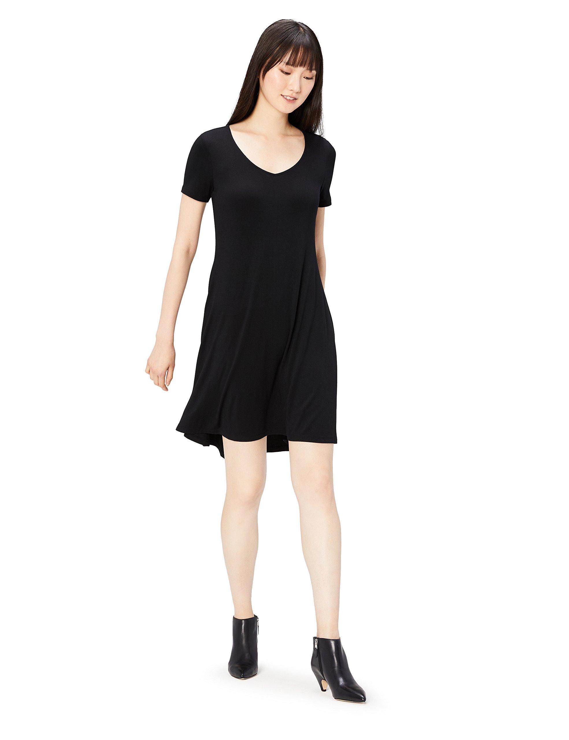 Daily Ritual Women's Jersey Short-Sleeve V-Neck Dress, Black, XX-Large