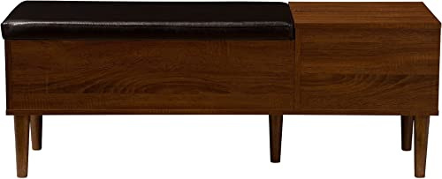 Baxton Furniture Studios Merrick Mid-Century Retro Modern 1 Drawer and Wood Cushioned Bench Shoe Rack Cabinet Organizer, Dark Brown