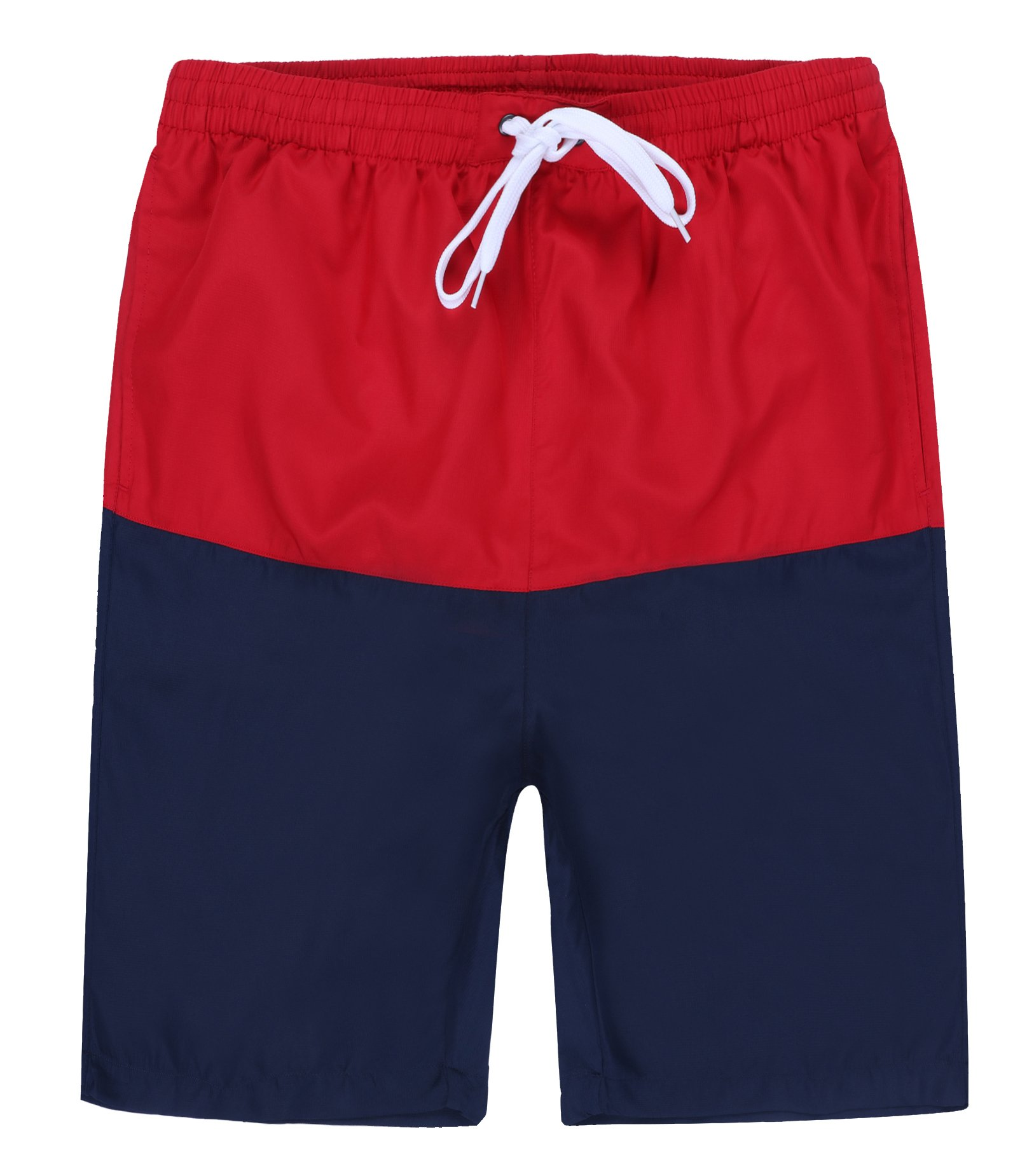 Dwar Men's Beachwear Board Shorts Quick Dry with Mesh Lining Swim Trunks (Medium, Red and Navy)
