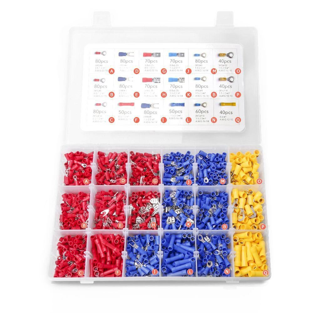SODIAL 1200PCS Crimp Connectors Electrical Crimp Terminals with 18 Sizes Insulated Terminal Set