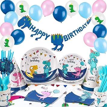 Cumpleaños Dinosaurios, Platos Vasos Servilletas Gorros Fiesta Mantel Feliz Cumpleaños Banner Globos, Decorations Fiesta Dinosaurios Cumpleaños Niños ...