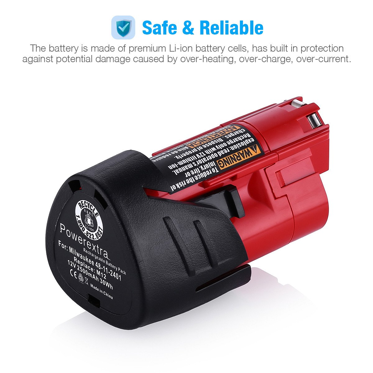 Powerextra 2 Pack 12V 2500mAh Lithium-ion Replacement Battery Compatible with Milwaukee M12 Milwaukee 48-11-2411 REDLITHIUM 12-Volt Cordless Milwaukee Tools Milwaukee 12V Battery Lithium-ion by Powerextra (Image #5)