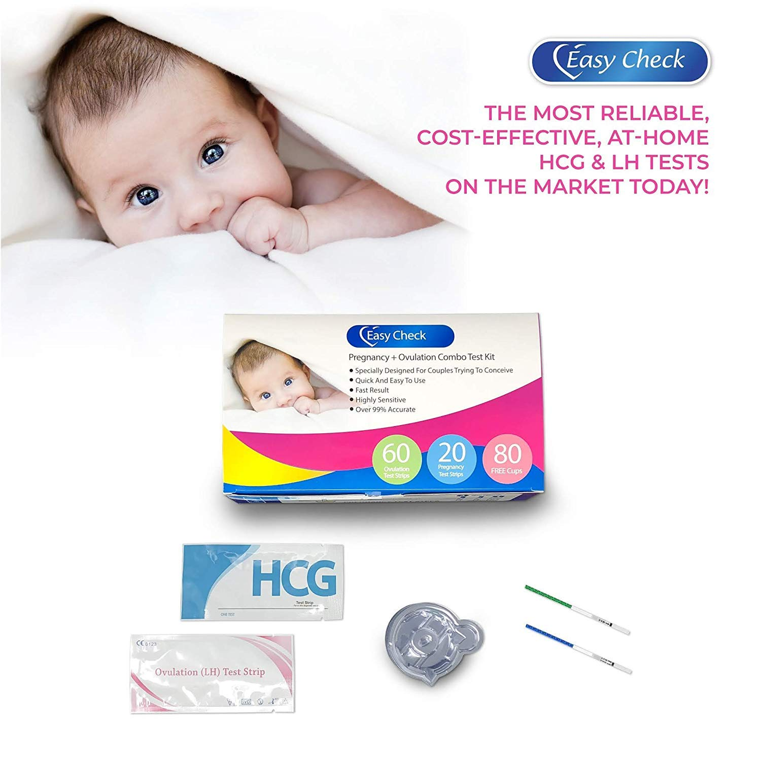 Easy Check 60 LH and 20 HCG - Ovulation Test Strips and Pregnancy Test Strips Kit with 80 Cups 99% Accurate and Reliable Fast Result Ovulation Predictor Kit