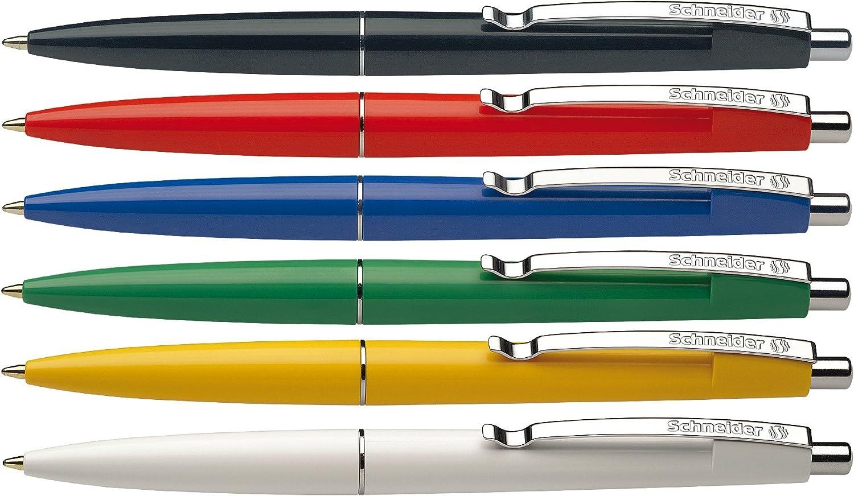 Schneider Office Ballpoint Pens, Click-Top, M, Blue, Barrel Colour: Assorted