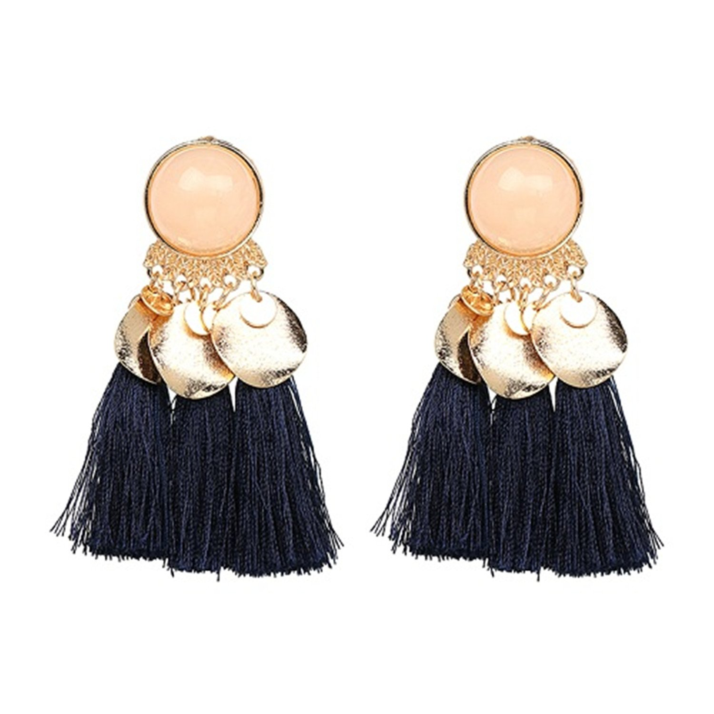 Tassel Drop Earring Jewelry Elegant Tassal Earrings Women Fringing Fringe Earrings Blue
