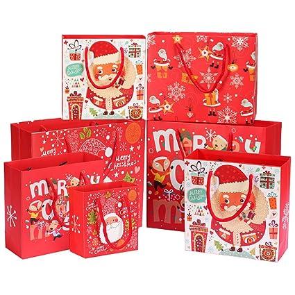 Kaxich Juego de 12 bolsas de regalo de Navidad con asa de ...