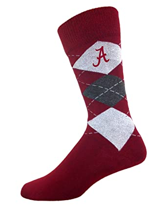 79ded3f7840e Image Unavailable. Image not available for. Color  For Bare Feet Alabama  Crimson Tide Argyle Crew Socks ...