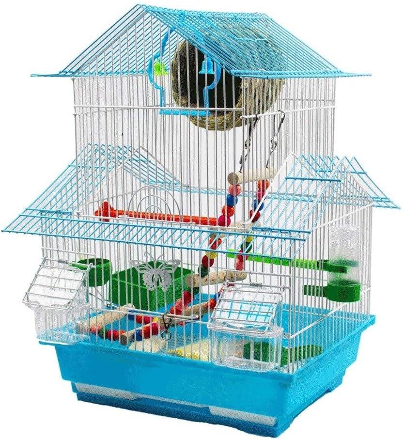 Jaulas para pájaros Jaula de Techo de Alta Altura de 48 cm para pájaros Loros pequeños con Bandeja deslizable 1 Fuente de Agua Potable y 2 Tazas de alimentación