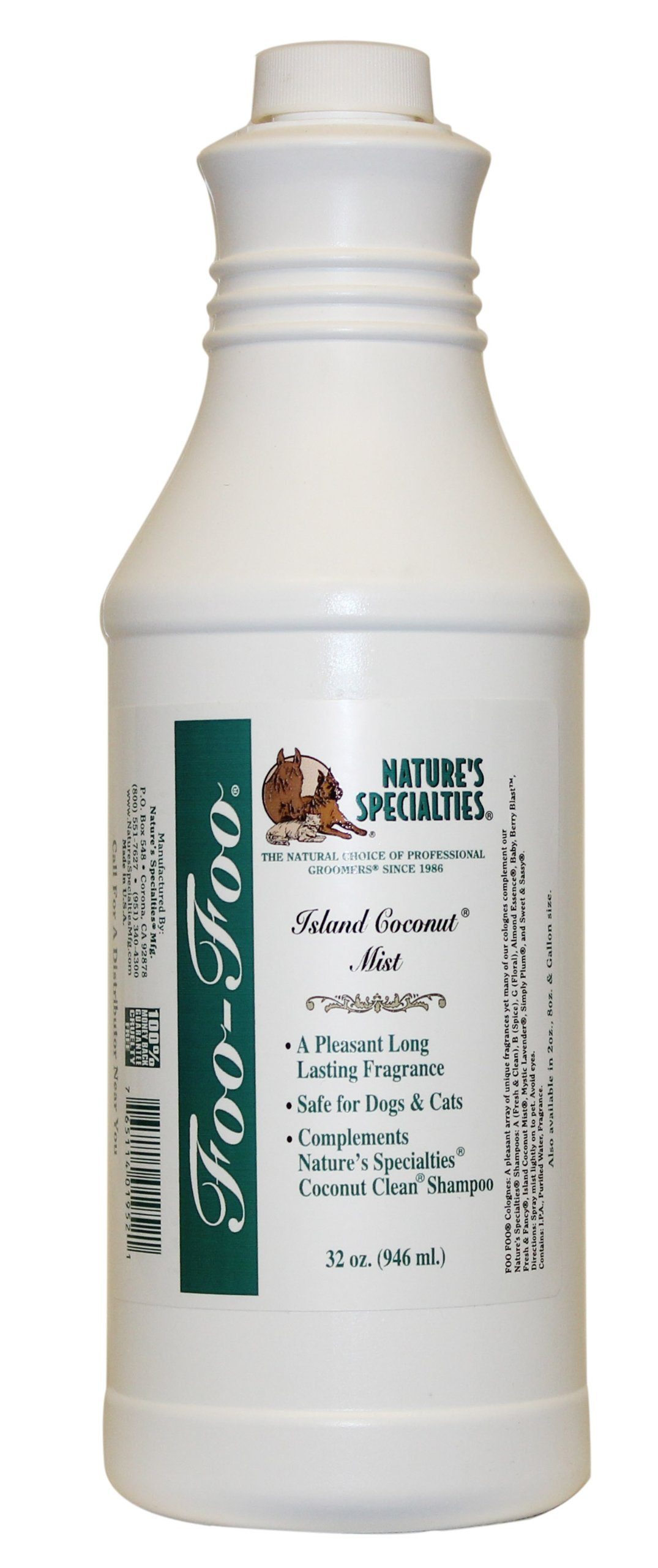 Nature's Specialties Foo Foo Island Coconut Cologne for Pets Mist, 32-Ounce