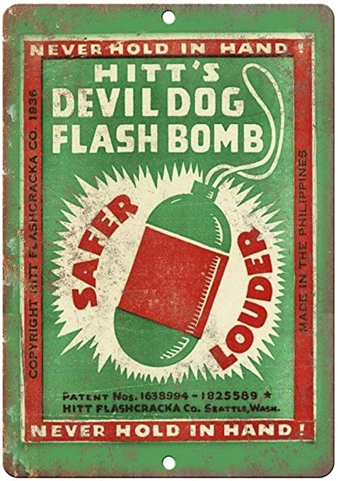 Hitts Devil Dog Flash Bomb Retro Cartel de Chapa Coffee ...
