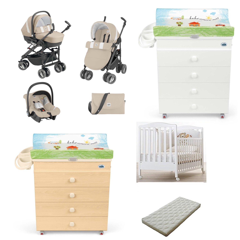 Lotto Trio Comi Baby Cam + Kinderbett Azzura Web + Wickelkommode Kommode Asien Cam + Matratze 564 PANNA