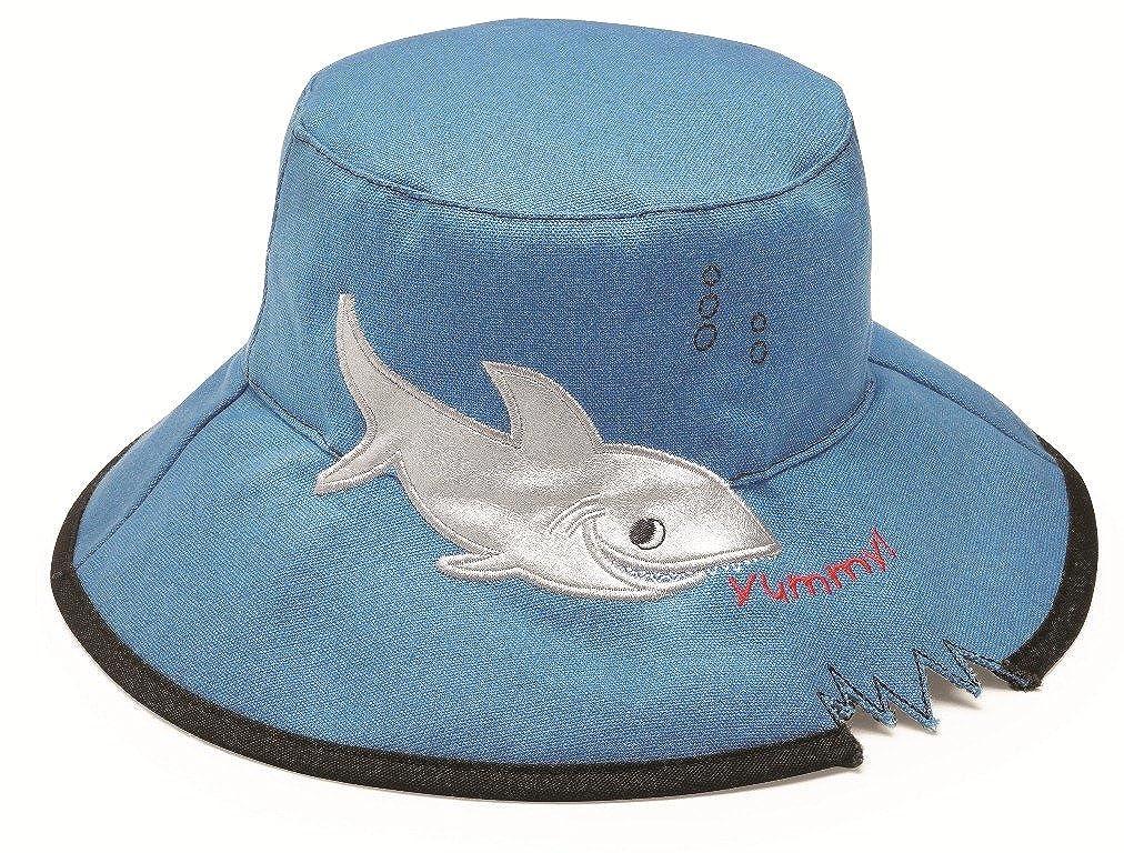 UPF 50+ Blue Shark Crushable Wallaroo Childrens Embroidered Animal Sun Hat 55cm