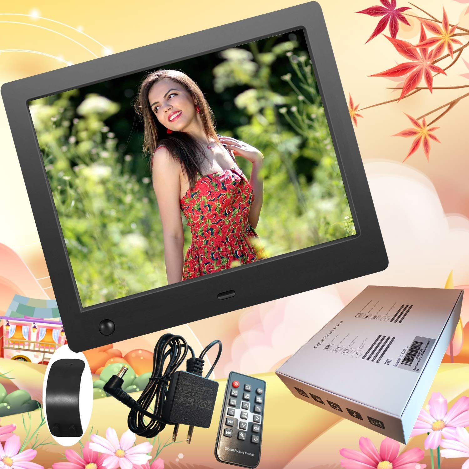 Digital Picture Frame 8 inch, Digital Photo Frame Video Player with Motion Sensor Smart Electronics Picture Frame High Resolution 1024x768 IPS LCD/1080P 720P /Stereo/MP3/Calendar/Time/Remote Control by Quality Life (Image #2)