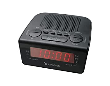Sunstech FRD18BK - Radio despertador digital PLL con alarma dual, snooze y sleep