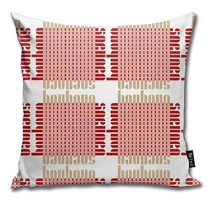 Amazon.com: Brecoy Bauhaus Grid Whiteblushred Throw Pillow ...