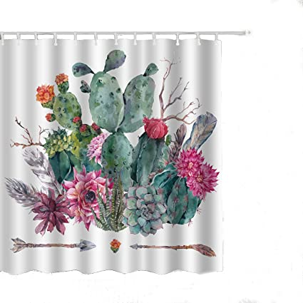 Alicemall Floral Cactus Shower Curtain Green And Pink Flowers Print White Set Waterproof