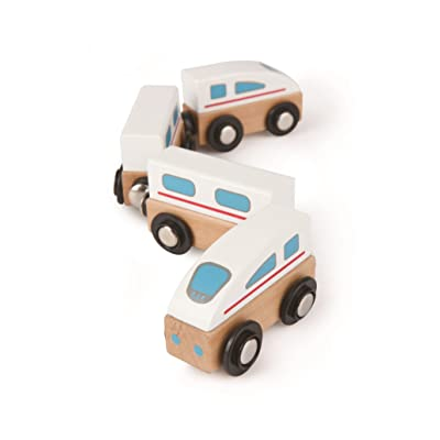 Hape Qubes Wooden Magnetic Bullet Train Set: Toys & Games