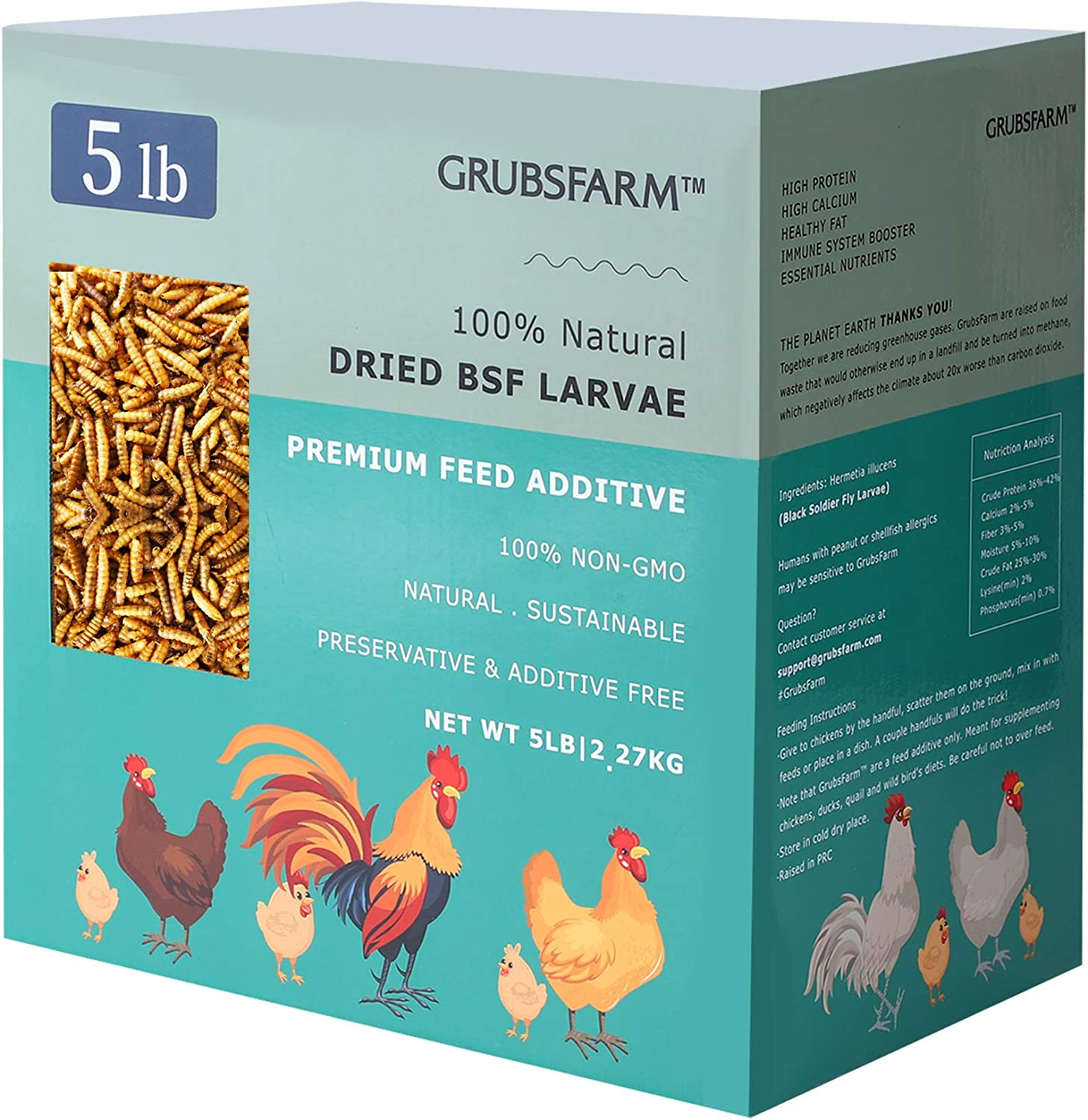 GRUBSFARM Better Than Dried Mealworms for Chickens 5LBS - Non-GMO 85X More Calcium Than Live/Freeze Meal Worms, Chicken Feed Molting Supplement, BSF Larvae Treats for Layer Hens, Ducks Wild Birds Food